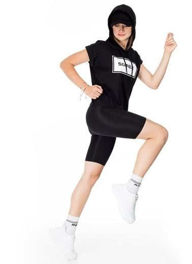 Lela Lela Biker Yüksek Bel Kısa Kadın Tayt 5252127 Siyah